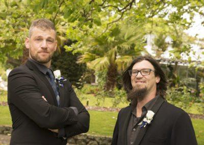 groom & groomsman outdoors in native bush setting