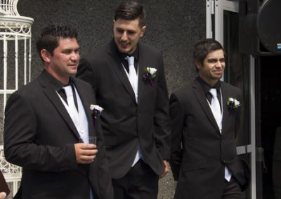 Pencarrow Lodge wedding groom & groomsmen waiting for bride to arrive