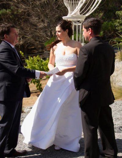 Pencarrow Lodge wedding windswept bride & groom saying vows with celebrant
